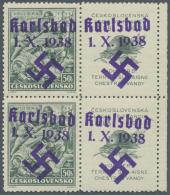 Sudetenland - Karlsbad: 1938, 50 H. Vouzier Im Senkrechten Paar Mit überdruckten Zierfeldern Rechts, Postfrisch Mit