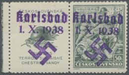 Sudetenland - Karlsbad: 1938, 50 H. Vouzier Mit überdrucktem Zierfeld Links, Randstück, Postfrisch Mit Winzige