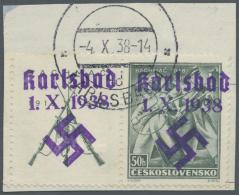 """Sudetenland - Karlsbad: 1938, 50 H. Bachmatsch Mit überdrucktem Zierfeld Links, Randstück Mit Stempel """"KARLSBA"""