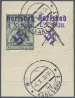 Sudetenland - Karlsbad: 1938, 50 H. Bachmatsch Aus Der Rechten Unteren Bogenecke Mit überdrucktem Zierfeld Rechts M