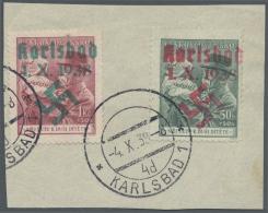 """Sudetenland - Karlsbad: 1938, 50 H. Und 1,50 Kc. Masaryk Mit Kind Auf Briefstück Mit Stempel """"KARLSBAD 4.X.38"""", Bri"""