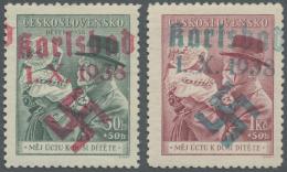 Sudetenland - Karlsbad: 1938, 50 H. Und 1,50 Kc. Masaryk Mit Kind, Postfrisch, Pracht, Bestens Signiert Osper BPP