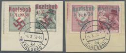 Sudetenland - Karlsbad: 1938, 50 H. Und 1,50 Kc. Masaryk Mit Kind Je Mit überdrucktem Zierfeld Links Mit Rand Auf Z