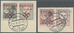 Sudetenland - Karlsbad: 1938, 50 H. Und 1,50 Kc. Masaryk Mit Kind Je Mit überdrucktem Zierfeld Rechts Auf Zwei Brie