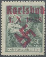 Sudetenland - Karlsbad: 1938, 50 H. Masaryk Mit Kind, Handstempel In Magenta, Ungebraucht Mit Gummifehler Unten, Sonst F