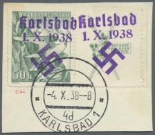 """Sudetenland - Karlsbad: 1938, 50 H. Sokol Mit überdrucktem Zierfeld Rechts, Randstück Mit Stempel """"KARLSBAD 4d"""