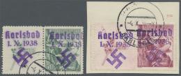 Sudetenland - Karlsbad: 1938, 50 H. Und 1 Kc. Sokol Je Mit überdruckten Zierfeldern Links, Gestempelt Bzw. Auf Brie