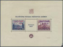 Sudetenland - Karlsbad: 1938, Bratislava-Blockmarken Im Fehlerhaftem Block, Marken Tadellos Postfrisch, U.a. Signiert Dr