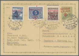 Sudetenland - Karlsbad: 1938, 5 Kc. Portomarke Sowie 2,50 Kc. Und 3 Kc. Stadtbilder Als Zufrankatur Auf 50 H. Ganzachenk