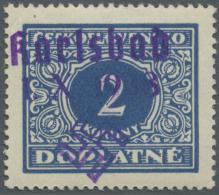 Sudetenland - Karlsbad: 1938, 2 Kc. Portomarke, Postfrisch, Pracht, Signiert Dr. Hörr Und Mahr BPP