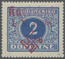 """Sudetenland - Karlsbad: 1938:  2 Kc Porto Blau Mit Rotem Überdruck """"Karlsbad 1.X.38 + Hakenkreuz"""", Postfrisch, Prac"""