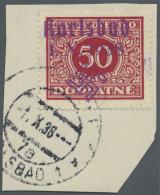 """Sudetenland - Karlsbad: 1938, 50 H. Portomarke Mit Ersttagsstempel """"KARLSBAD 4d 1.X.38"""" Auf Briefstück, Kabinett, S"""