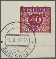"""Sudetenland - Karlsbad: 1938, 40 H. Portomarke Mit Ersttagsstempel """"KARLSBAD 4d 1.X.38"""" Auf Briefstück, Kabinett, S"""