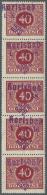 Sudetenland - Karlsbad: 1938, 40 H. Portomarke Im Senkrechten 5er-Streifen, Postfrisch, Mittlere Marke Mit Waagerechter
