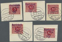 Sudetenland - Karlsbad: 1938, 5 H. - 40 H. Portomarken, Sechs Verschiedene Werte Auf Briefstücken, Pracht, Meist Si