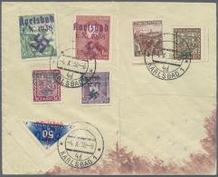 Sudetenland - Karlsbad: 1938, 50 H. Schwärzlichultramarin Aus Der Bogenecke Mit Breiten Rändern Und Sechs Weit