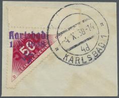 Sudetenland - Karlsbad: 1938, 50 H Zweifarbig Mit Handstempelaufdruck Type I Vom Rand Auf Briefstück, Entwertet Mit