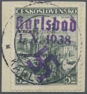 """Sudetenland - Karlsbad: 1938, 5 Kc. Stadtbilder Auf Briefstück Mit Stempel """"KARLSBAD 4d 4.X.38"""", Kabinett, Signiert"""