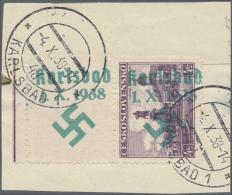 Sudetenland - Karlsbad: 1938, 4 Kc. Freimarke Mit Senkrechtem Leerfeld Oben Und Jeweils Rechtsliegenden Senkrechten Aufd