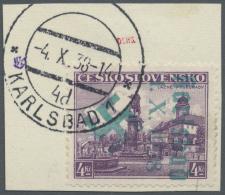 """Sudetenland - Karlsbad: 1938, 4 Kc. Stadtbilder Auf Briefstück Mit Stempel """"KARSLBAD 4d. 4.X.38"""", Kabinett, Signier"""