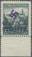 Sudetenland - Karlsbad: 1938, 2 Kc. Freimarke Mit Kopfstehendem Aufdruck, Unterrandstück, Ungebraucht Mit Kurzem Za