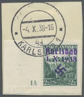 """Sudetenland - Karlsbad: 1938, 2 Kc. Stadtbilder Aus Der Linken Unteren Bogenecke Mit Plattennummer """"1 A"""" Auf Briefst&uum"""