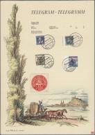 Sudetenland - Karlsbad: 1938, 40 H. Comenius, 50 H. Benes Sowie 1,60 Kc. Und 2,50 Kc. Stadtbilder Auf Schmuckblatt-Teleg