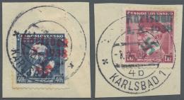 """Sudetenland - Karlsbad: 1938, 40 H. Komensky Und 1 Kc. Masaryk Auf Briefstück Mit Ersttagsstempel """"KARLSBAD 4b 1.X."""