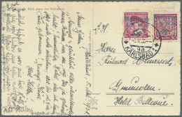 """Sudetenland - Karlsbad: 1938, 30 H. Staatwappen Und 1 Kc. Masaryk Auf Bedarfsgebrauchter Ansichtskarte Aus """"KARLSBAD 1 9"""