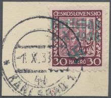 """Sudetenland - Karlsbad: 1938, 30 H. Staatswappen Auf Briefstück Mit Ersttagsstempel """"KARLSBAD 4d 1.X.38"""", Kabinett,"""