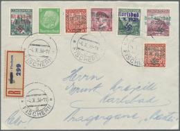 Sudetenland - Karlsbad: 1938, 20 H. Stadtbilder, Zwei Einzelwerte Mit Vier Weiteren Aufdruckmarken Und 5 Pfg. Hindenburg