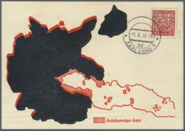 """Sudetenland - Karlsbad: 1938, 20 H. Staatswappen Mit Mit Ersttagsstempel """"KARLSBAD 4d 1.X.38"""" Auf Sonderkarte Mit Landka"""