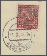 """Sudetenland - Karlsbad: 1938, 20 H. Staatswappen Auf Briefstück Mit Ersttagsstempel """"KARLSBAD 4d 1.X.38"""", Kabinett,"""