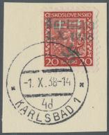 """Sudetenland - Karlsbad: 1938: 20 H Wappen Rot Mit Grünem Aufdruck """"Karlsbad 1.X.1938"""" + Plus Hakenkreuz, Tadelloses"""