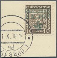 """Sudetenland - Karlsbad: 1938, 10 H. Staatswappen Auf Briefstück Mit Ersttagsstempel """"KARLSBAD 4d 1.X.38"""", Kabinett,"""