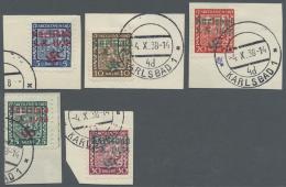 Sudetenland - Karlsbad: 1938, 5 H. Bis 30 Pfg. Staatswappen, Kompletter Satz Auf Fünf Kabinett-Briefstücken, M