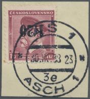 Sudetenland - Asch: 1938, 1,20 Kc. Auf 50 H. Masaryk Mit Kopfstehendem Aufdruck Auf Briefstück, Links Unten Kleiner