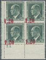 Sudetenland - Asch: 1938, 1,20 Kc. Auf 50 H. Benes Mit Aufdruck In Lebhaftmagenta, Viererblock Aus Der Linken Unteren Bo