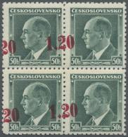 Sudetenland - Asch: 1938, 1,20 Kc. Auf 50 H. Benes Mit Aufdruck In Lebhaftmagenta, Viererblock Mit Stark Nach Links Vers