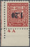 Sudetenland - Asch: 1938, 1,20 Kc. Auf 20 H. Staatswappen Mit Kopfstehendem Aufdruck, Postfrisches Kabinett-Stück A