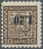 Sudetenland - Asch: 1938, 1,20 Kc. Auf 10 H. Staatswappen Mit Kopfstehendem Aufdruck, Ungebraucht, Kabinett, Signiert Dr