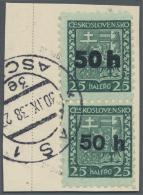 Sudetenland - Asch: 1938, 50 H. Auf 25 H. Staatswappen Im Senkrechten Paar Mit Fettem Aufdruck Oben Bzw. Dünnem Auf