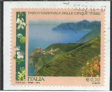ITALY REPUBLIC ITALIA REPUBBLICA 2013 PARCO NAZIONALE DELLE CINQUE TERRE USATO USED OBLITERE´ - 6. 1946-.. Republic