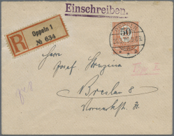 Deutsche Abstimmungsgebiete: Oberschlesien: 1920, 50 Pf. Auf 5 M. Orange Mit Aufdrucktype IVa Als Portogerechte Einzelfr
