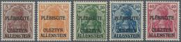 Deutsche Abstimmungsgebiete: Allenstein: 1920, Freimarken Germania 5 - 40 Pf. Mit Dreizeiligem Aufdruck, UNVERAUSGABTE S