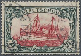 Deutsche Kolonien - Kiautschou: 1908. 2 1/2 Dollar Friedensdruck, 26:17 Zähnungslöcher, Grünschwarz/dunke