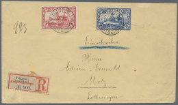 Deutsche Kolonien - Kiautschou: 1 U. 2 Mk. Auf Sauberem R-Brief Nach Deutschland Mit Ankunftsstempel, Brief Oben Verk&uu