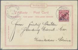 """Deutsche Kolonien - Kiautschou: 1900: """"5 Pf"""" Auf 10 Pfg Lebhaftlilarot, Schrägaufdruck """"China"""" Auf Seltener Postkar"""