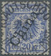 """Deutsche Kolonien - Kiautschou - Mitläufer: 1901: 20 Pfg Blau, Steiler Aufdruck Mit Sehr Seltener Entwertung """"KIAUT"""