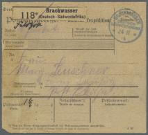 """Deutsch-Südwestafrika - Besonderheiten: 1914, """"BRACKWASSER DEUTSCH-SÜDWESTAFRIKA 24.11.14"""" Paketkarte Mit Pake"""
